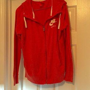 Nike vintage red hoodie jacket size large